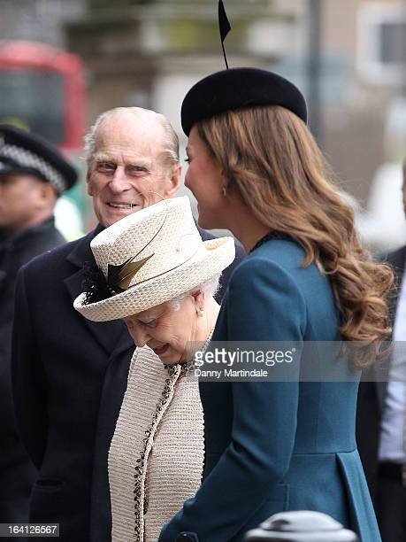 Prince Philip Duke of Edinburgh Catherine Duchess of Cambridge and Queen Elizabeth ll makes an official visit to Baker Street Underground Station on...