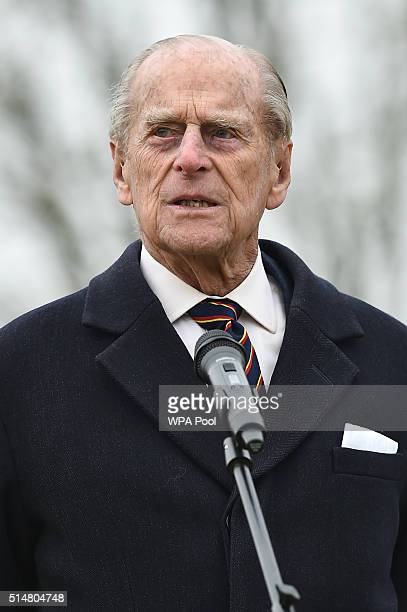 Prince Philip Duke of Edinburgh ColonelinChief Royal Electrical and Mechanical Engineers delivers a speech before unveiling a plaque to officially...