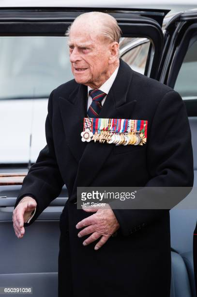 Prince Philip Duke of edinburgh during the dedication and unveiling of The Iraq and Afghanistan memorial on March 9 2017 in London England