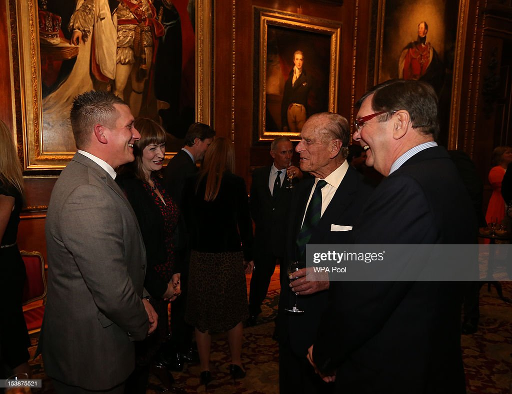 <a gi-track='captionPersonalityLinkClicked' href=/galleries/search?phrase=Prince+Philip&family=editorial&specificpeople=92394 ng-click='$event.stopPropagation()'>Prince Philip</a>, Duke of Edinburgh greets guests at a reception for the participants of the Royal Windsor Horse Show Jubilee Pageant which was held in May, at Windsor Castle on October 10, 2012 in Windsor, England.