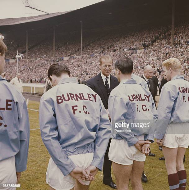 Prince Philip Duke of Edinburgh greets members of Burnley FC team before their FA cup final game against Tottenham Hotspur at Wembley Empire Stadium...