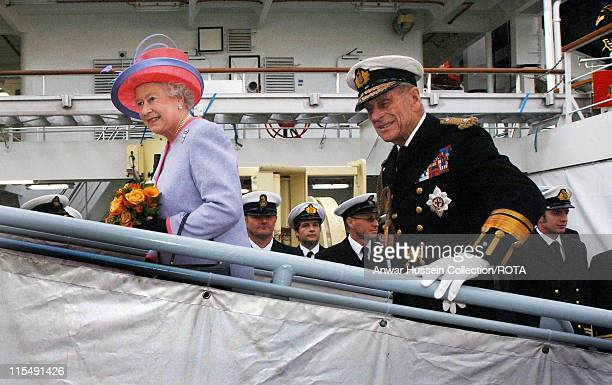 Prince Philip Duke of Edinburgh in his role as Master of Trinity House and Queen Elizabeth ll depart the new Trinity House Vessel Galatea which is...