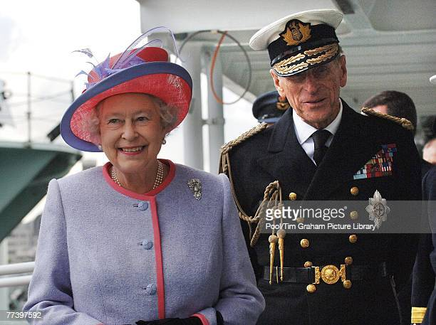 Prince Philip Duke of Edinburgh in his role as Master of Trinity House welcomes his wife Queen Elizabeth II aboard the new Trinity House Vessel...