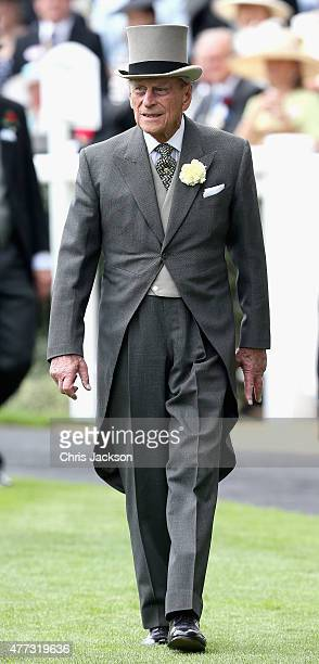 Prince Philip Duke of Edinburgh in the parade ring on day 1 of Royal Ascot at Ascot Racecourse on June 16 2015 in Ascot England
