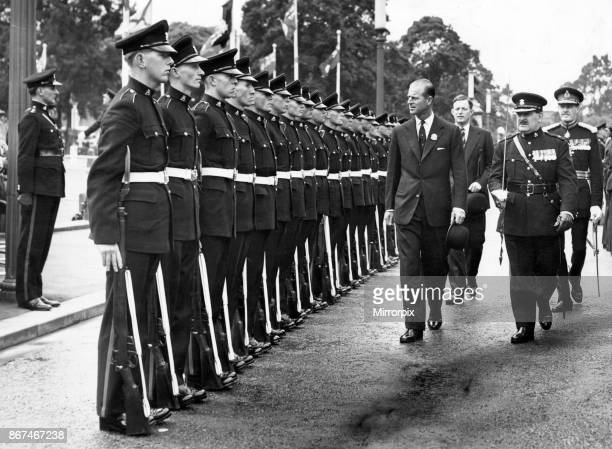 Prince Philip Duke of Edinburgh inspecting the Guard of Honour formed by men of the Depot of the Welch Regiment outside the City Hall Cardiff 1957