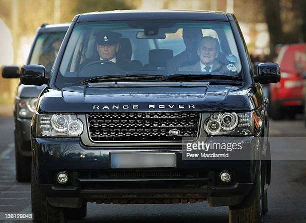Prince Philip Duke of Edinburgh is driven from Papworth Hospital on December 27 2011 in Cambridge Cambridgeshire The Duke is returning to the...