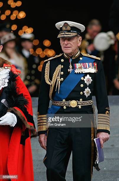 Prince Philip Duke of Edinburgh is seen outside St Paul's Cathedral for a service to mark the 200th Anniversary of Nelson's victory at Trafalgar on...