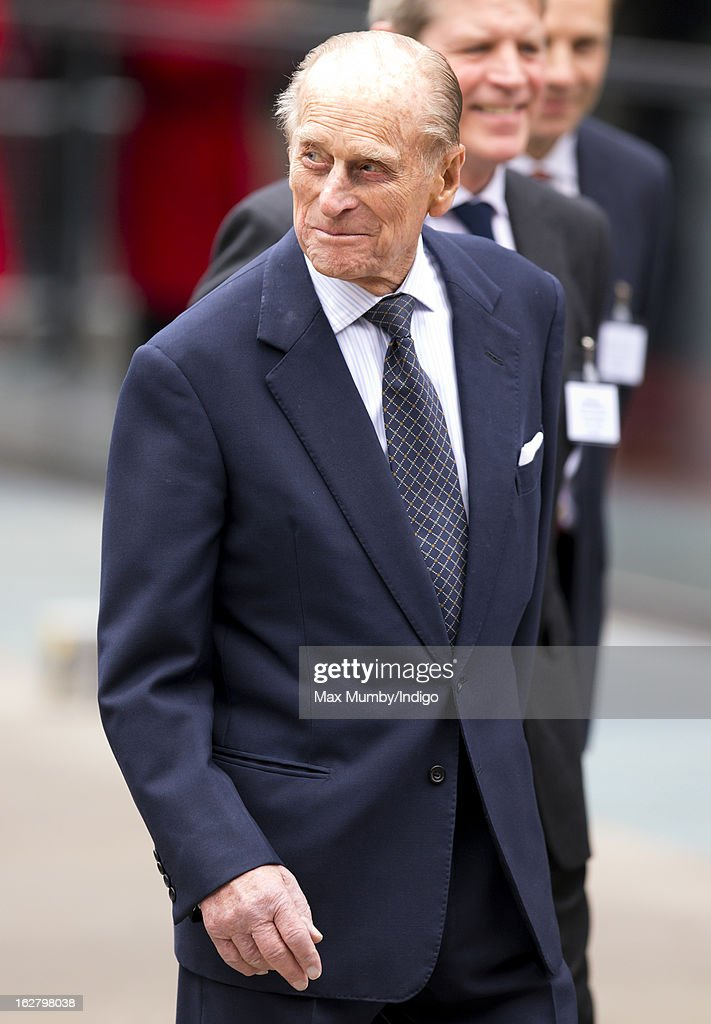 <a gi-track='captionPersonalityLinkClicked' href=/galleries/search?phrase=Prince+Philip&family=editorial&specificpeople=92394 ng-click='$event.stopPropagation()'>Prince Philip</a>, Duke of Edinburgh leaves after accompanying Queen Elizabeth II to the opening of the new National Centre for Bowel Research and Surgical Innovation at Queen Mary, University of London on February 27, 2013 in London, England.