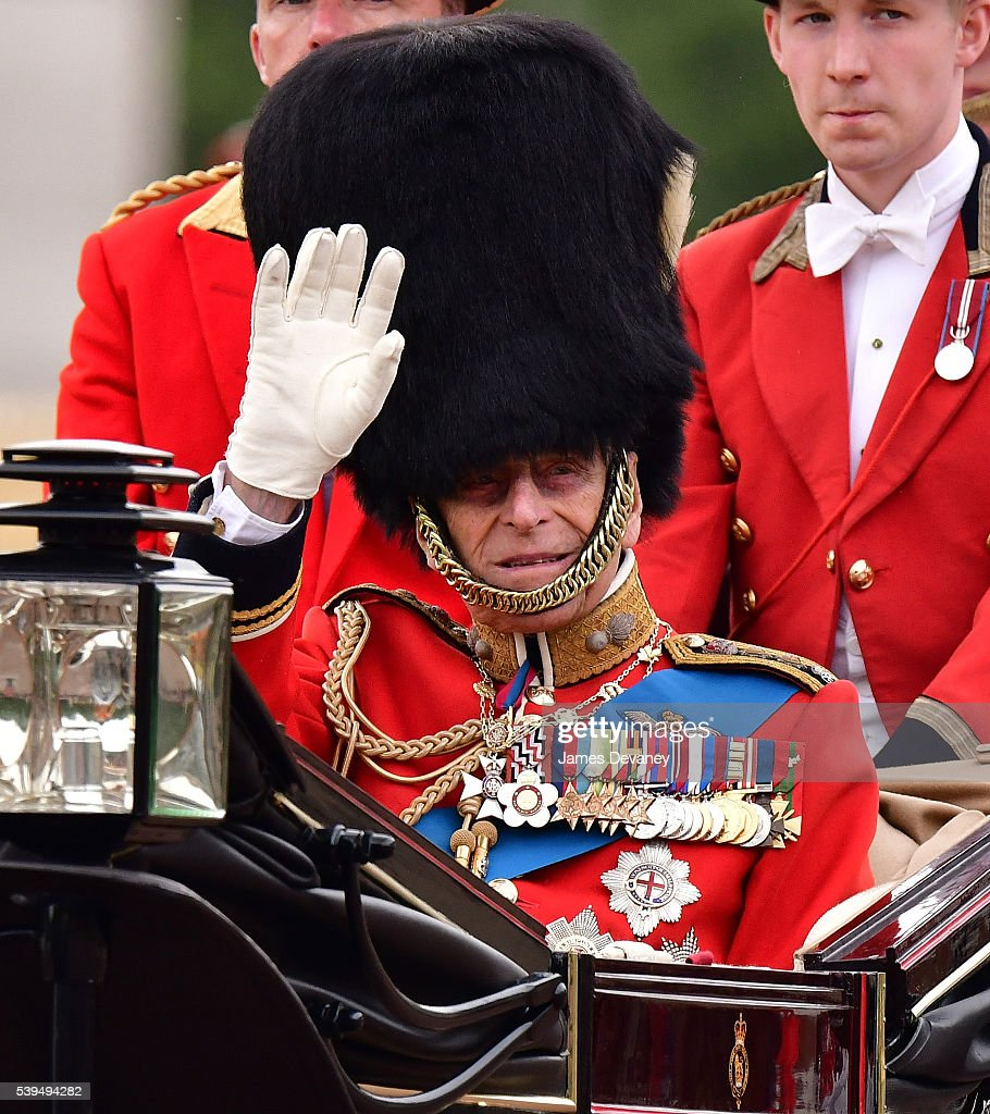 Prince Philip, Duke of Edinburgh leaves Buckingham Palace during the Trooping the Colour, this year marking the Queen's 90th birthday at The Mall on June 11, 2016 in London, England. The ceremony is Queen Elizabeth II's annual birthday parade and dates back to the time of Charles II in the 17th Century when the Colours of a regiment were used as a rallying point in battle.
