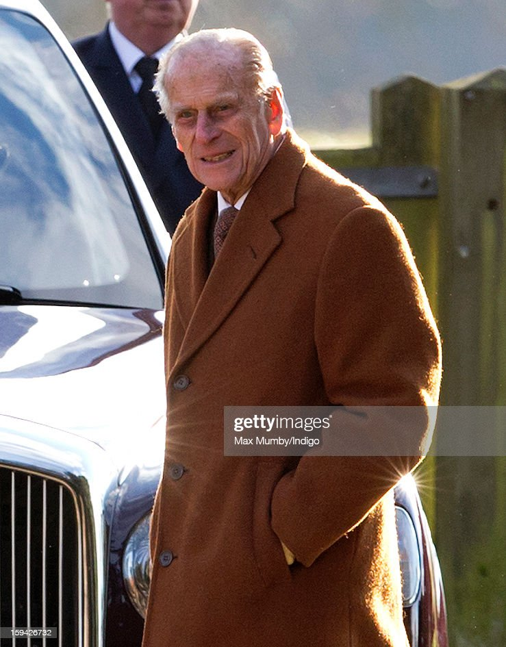 Prince Philip, Duke of Edinburgh leaves St. Mary Magdalene Church, Sandringham after attending Sunday service along with Queen Elizabeth II and Lady Helen Taylor on January 13, 2012 near King's Lynn, England.