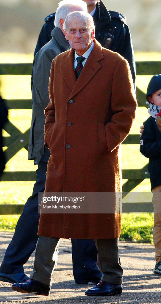 <a gi-track='captionPersonalityLinkClicked' href=/galleries/search?phrase=Prince+Philip&family=editorial&specificpeople=92394 ng-click='$event.stopPropagation()'>Prince Philip</a>, Duke of Edinburgh leaves St. Mary Magdalene Church, Sandringham after attending Sunday service on December 29, 2013 near King's Lynn, England.