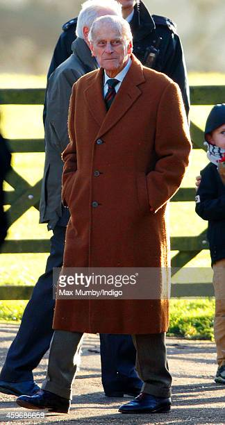 Prince Philip Duke of Edinburgh leaves St Mary Magdalene Church Sandringham after attending Sunday service on December 29 2013 near King's Lynn...