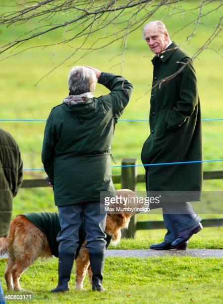 Prince Philip Duke of Edinburgh leaves St Mary Magdalene Church Sandringham after attending Sunday service on January 5 2014 near King's Lynn England
