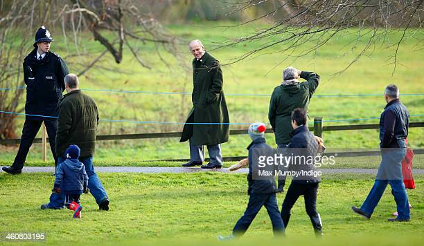 Prince Philip Duke of Edinburgh leaves St Mary Magdalene Church Sandringham after attending Sunday service on January 5 2014 near King's Lynn England