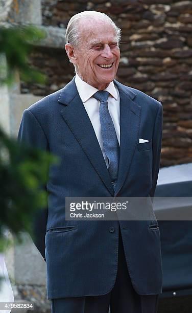 Prince Philip Duke of Edinburgh leaves the Church of St Mary Magdalene on the Sandringham Estate for the Christening of Princess Charlotte of...