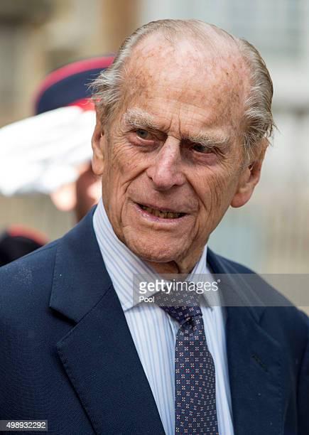 Prince Philip Duke of Edinburgh looks on during a visit to St Pauls ProCathedral on November 27 2015 near Valleta Malta Queen Elizabeth II The Duke...