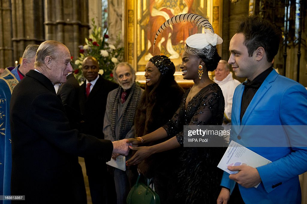 <a gi-track='captionPersonalityLinkClicked' href=/galleries/search?phrase=Prince+Philip&family=editorial&specificpeople=92394 ng-click='$event.stopPropagation()'>Prince Philip</a>, Duke of Edinburgh meets members of the British band Noisettes, singer Shingai Shoniwa (2nd R) and guitarist Dan Smith (R) as he leaves at the end of the Commonwealth Day Observance at Westminster Abbey, on March 11, 2013 in London, England. Queen Elizabeth II, who is the head of the Commonwealth, was due to attend the event, but cancelled as she continues her recovery after a brief illness. Commonwealth Day Observance takes place annually on the second Monday in March, and this year's theme is 'Opportunity Through Enterprise'.