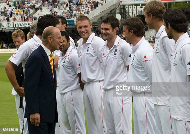 Prince Philip Duke of Edinburgh meets the England team during day two of the npower 2nd Ashes Test Match between England and Australia at Lord's on...