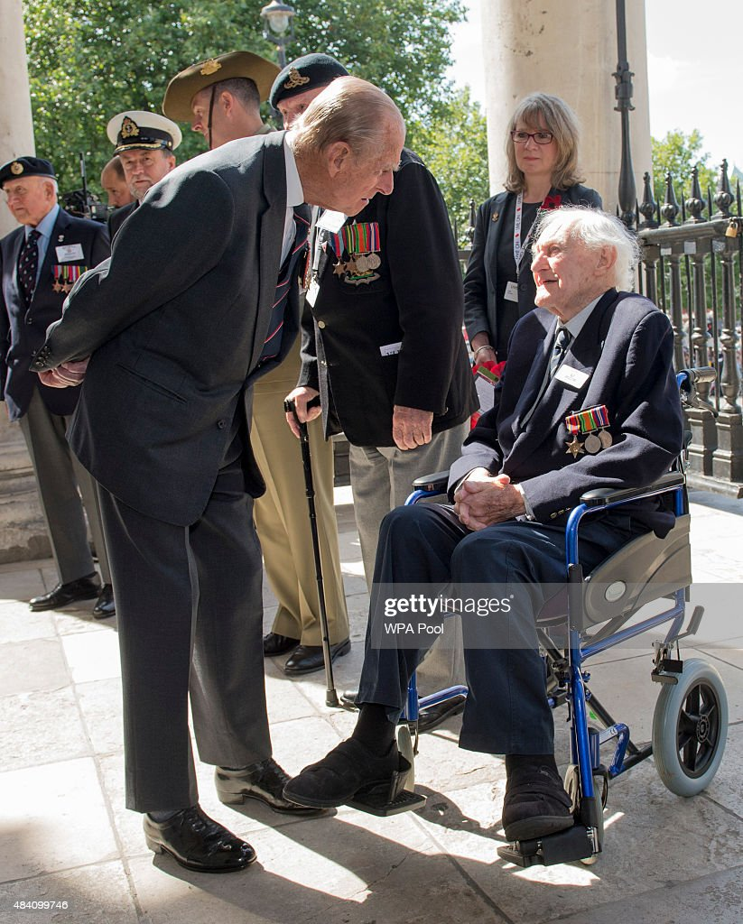<a gi-track='captionPersonalityLinkClicked' href=/galleries/search?phrase=Prince+Philip&family=editorial&specificpeople=92394 ng-click='$event.stopPropagation()'>Prince Philip</a>, Duke of Edinburgh meets veteran <a gi-track='captionPersonalityLinkClicked' href=/galleries/search?phrase=John+Dean&family=editorial&specificpeople=711173 ng-click='$event.stopPropagation()'>John Dean</a> who served on the same ship as the duke during the 70th Anniversary commemorations of VJ Day (Victory over Japan) at St Martin-in-the-Fields Church on August 15, 2015 in London, England. The event marks the 70thanniversary of the surrender of Japanese Forces, bringing about the end of World War II. Queen Elizabeth II and <a gi-track='captionPersonalityLinkClicked' href=/galleries/search?phrase=Prince+Philip&family=editorial&specificpeople=92394 ng-click='$event.stopPropagation()'>Prince Philip</a>, Duke of Edinburgh will join British Prime Minister David Cameron and former prisoners of war during services throughout the day as tributes are made to the the estimated 71,244 British and Commonwealth casualties of the Far East conflict. Japan formally surrendered on September 2, 1945 at a ceremony in Tokyo Bay on USS Missouri.
