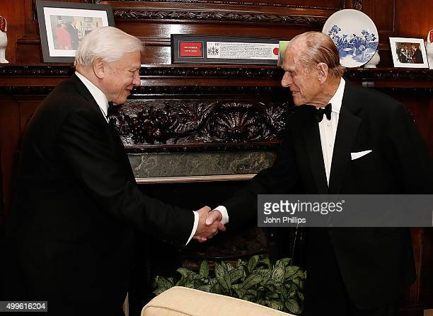 Prince Philip Duke of Edinburgh meets with Sir David Attenborough at a special screening event of his new series on the Great Barrier Reef hosted by...