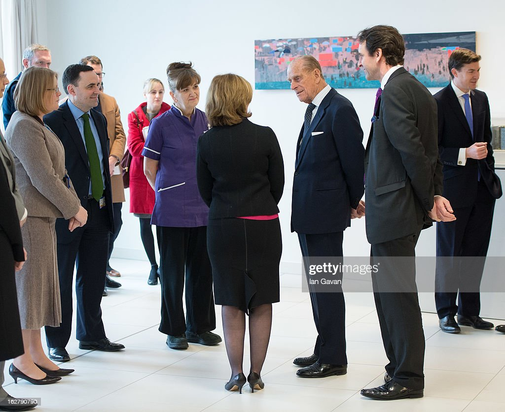 Prince Philip, Duke of Edinburgh meets with staff and patients as he tours and opens the new Royal London Hospital building and the new National Centre for Bowel Research and Surgical Innovation on February 27, 2013 in London, England.