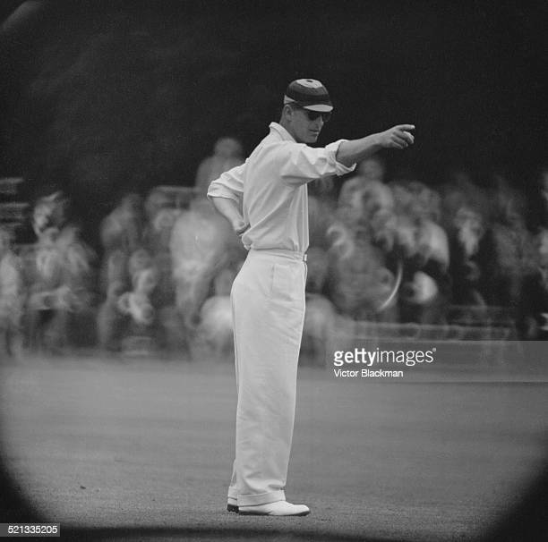 Prince Philip Duke of Edinburgh playing cricket at Highclere Castle Highclere Hampshire 3rd August 1958