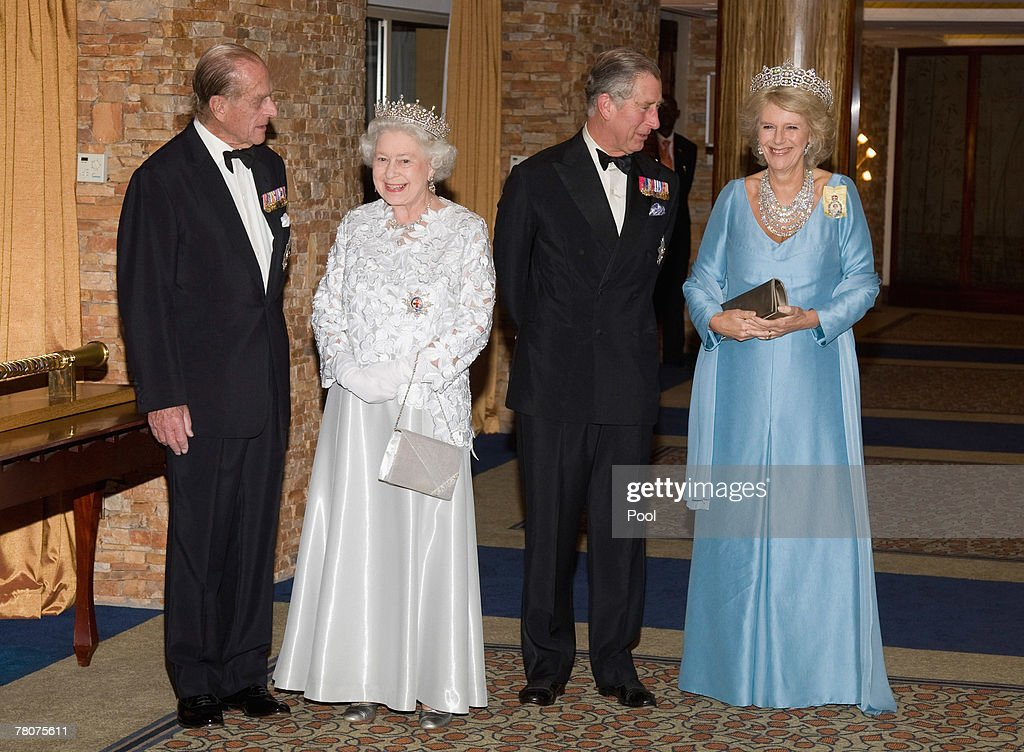 Prince Philip, Duke of Edinburgh, Prince Charles, Prince of Wales, HRH Queen Elizabeth II and Camilla, Duchess of Cornwall arrive at the Serena Hotel for The Queen's Banquet for Commonwealth Heads of Government on November 23, 2007 in Kampala, Uganda. The Duchess is in Uganda with The Prince of Wales during the Commonwealth Heads of Govenment Meeting. CHOGM will be attended by over 5000 delegates, The Queen as well as UK Prime Minister Gordon Brown.