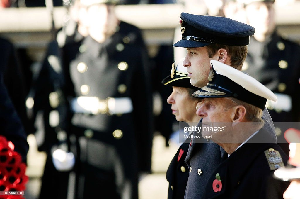 Prince Philip, Duke of Edinburgh, Prince William, Duke of Cambridge and Princess Anne, Princess Royal stand in front of the Cenotaph during a wreath laying ceremony on Whitehall on November 10, 2013 in London, United Kingdom. People across the UK gathered to pay tribute to service personnel who have died in the two World Wars and subsequent conflicts, as part of the annual Remembrance Sunday ceremonies.