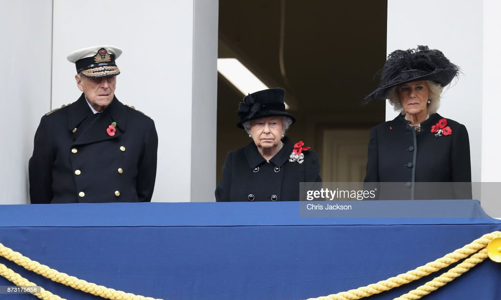 Prince Philip, Duke of Edinburgh, Queen Elizabeth II and Camilla, Duchess of Cornwall during the annual Remembrance Sunday memorial on November 12, 2017 in London, England. The Prince of Wales, senior politicians, including the British Prime Minister and representatives from the armed forces pay tribute to those who have suffered or died at war.