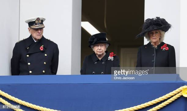 Prince Philip Duke of Edinburgh Queen Elizabeth II and Camilla Duchess of Cornwall during the annual Remembrance Sunday memorial on November 12 2017...