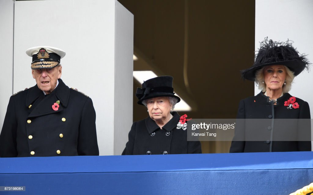 Prince Philip, Duke of Edinburgh, Queen Elizabeth II and Camilla, Duchess of Cornwall during the annual Remembrance Sunday Service at The Cenotaph on November 12, 2017 in London, England.