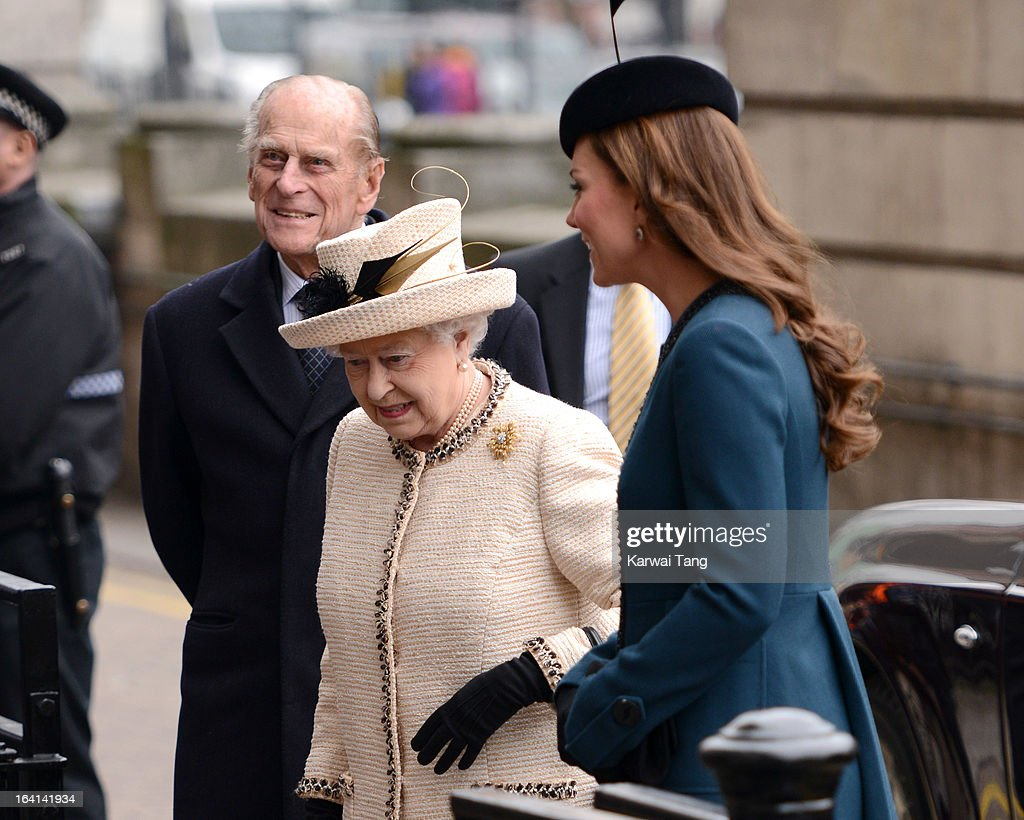 Prince, Philip, Duke of Edinburgh, Queen Elizabeth II and Catherine, Duchess of Cambridge visits Baker Street Underground Station to mark the 150th anniversary of the London Underground on March 20, 2013 in London, England.