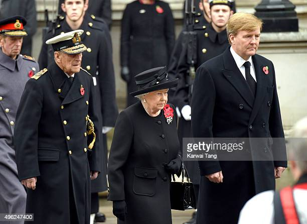 Prince Philip Duke of Edinburgh Queen Elizabeth II and King WillemAlexander of the Netherlands attend the annual Remembrance Sunday Service at the...