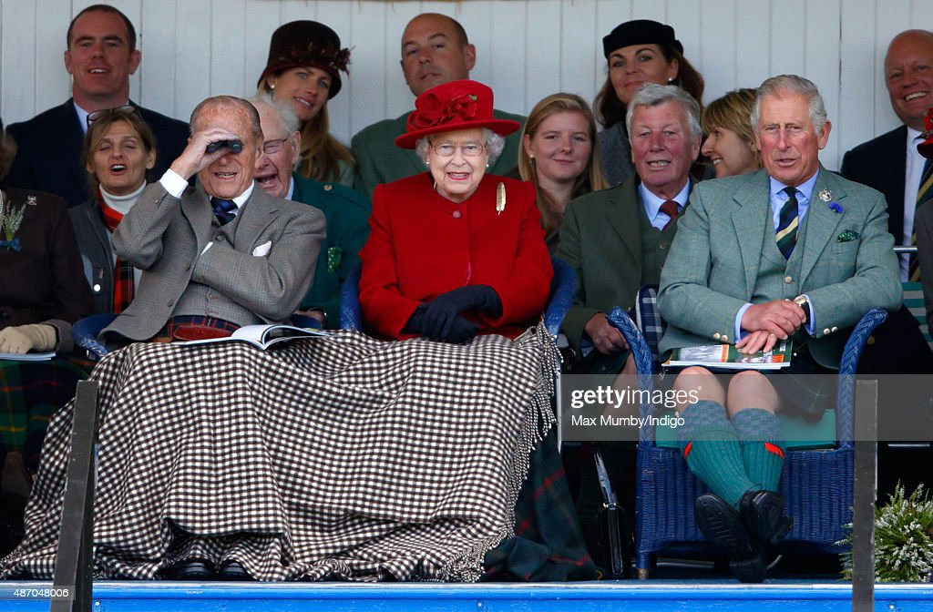 Prince Philip, Duke of Edinburgh, Queen Elizabeth II and Prince Charles, Prince of Wales attend the Braemar Gathering at The Princess Royal and Duke of Fife Memorial Park on September 5, 2015 in Braemar, Scotland. There has been an annual gathering at Braemar, in the heart of the Cairngorms National Park, for over 900 years. The current gathering, in the form of a Highland Games and run by the Braemar Royal Highland Society (BRHS), takes place on the first Saturday in September and sees competitors in Running, Heavy Weights, Solo Piping, Light Field and Solo Dance watched by around 16000 spectators. This year the BRHS commemorate their bi-centenary. Members of the Royal family often attend the event and Her Majesty the Queen is Chieftain of the Braemar Gathering.
