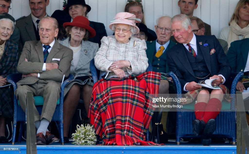 Prince Philip, Duke of Edinburgh, Queen Elizabeth II and Prince Charles, Prince of Wales attend the 2017 Braemar Gathering at The Princess Royal and Duke of Fife Memorial Park on September 2, 2017 in Braemar, Scotland.