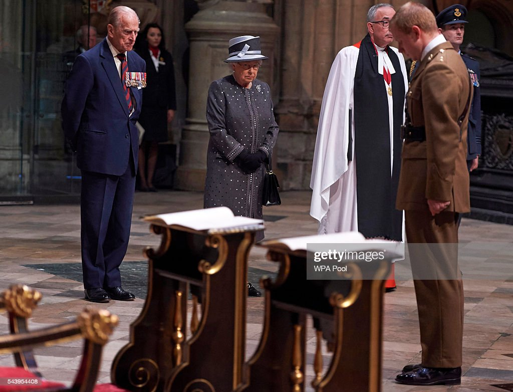 <a gi-track='captionPersonalityLinkClicked' href=/galleries/search?phrase=Prince+Philip&family=editorial&specificpeople=92394 ng-click='$event.stopPropagation()'>Prince Philip</a>, Duke of Edinburgh, Queen <a gi-track='captionPersonalityLinkClicked' href=/galleries/search?phrase=Elizabeth+II&family=editorial&specificpeople=67226 ng-click='$event.stopPropagation()'>Elizabeth II</a> and The Dean of Westminster, Very Reverend Dr John Hall stand after the bugler finishes playing at the end of a Service on the Eve of the Centenary of the Battle of the Somme at Westminster Abbey on June 30, 2016 in London, United Kingdom.