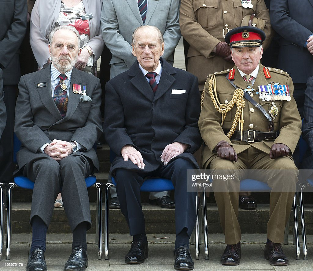 Prince Philip, Duke of Edinburgh, sits inbetween Sir Lawrence New (L) and General Lord Dannatt as he attends a service for the 175th anniversary of the Soldier's and Airmen's Scripture Association, at the Guards Chapel on March 14, 2013 in London, England.