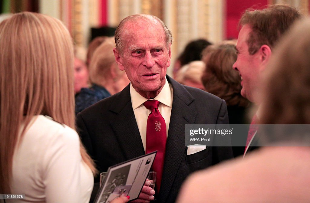Prince Philip, Duke of Edinburgh speaks to guests during a reception for The Queen Elizabeth Prize for Engineering in the Throne Room at Buckingham Palace on October 26, 2015 in London, England. The Queen has presented a £1 million engineering prize to Dr Robert Langer at a reception at Buckingham Palace.