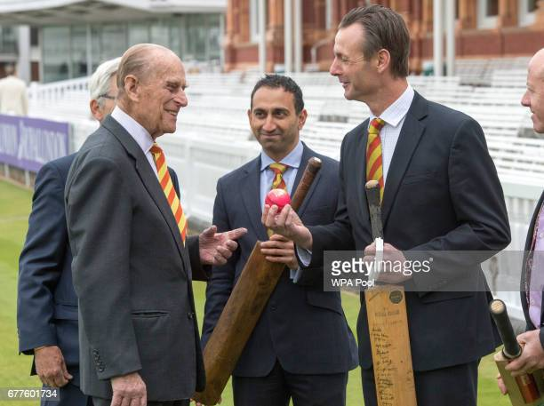Prince Philip Duke of Edinburgh speaks to John Stephenson as he opens the new Warner Stand at Lord's Cricket Ground on May 3 2017 in London England...