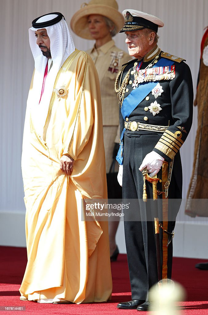 Prince Philip, Duke of Edinburgh stands with UAE President, His Highness Sheikh Khalifa bin Zayed Al Nahyan during his Ceremonial Welcome on April 30, 2013 in Windsor, England. President Sheikh Khalifa begins a State visit to the UK today, the first for a UAE President in 24 years. Sheikh Khalifa will meet the British Prime Minister David Cameron tomorrow at his Downing Street residence.