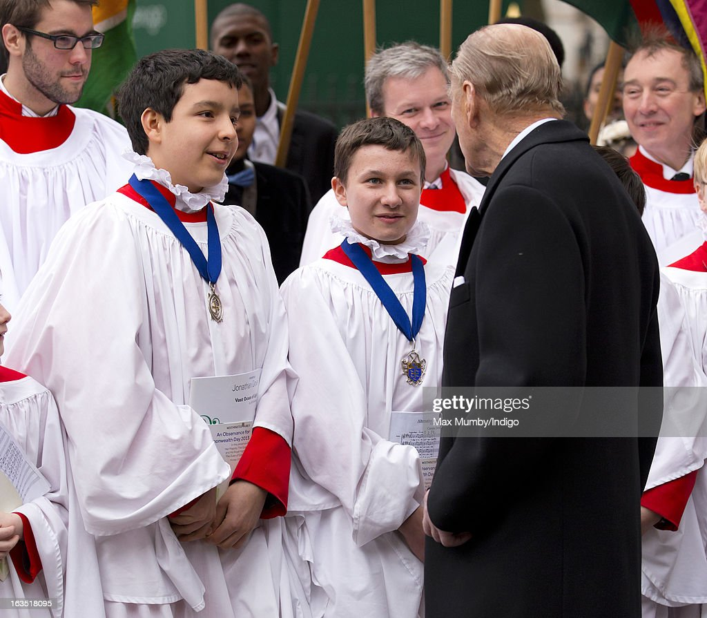 Prince Philip, Duke of Edinburgh talks to choir boys as he leaves Westminster Abbey after attending The Commonwealth Day Observance on March 11, 2013 in London, England. Queen Elizabeth II, who is the head of the Commonwealth, was due to attend the event, but cancelled as she continues her recovery after a brief illness. Commonwealth Day Observance takes place annually on the second Monday in March, and this year's theme is 'Opportunity Through Enterprise'.