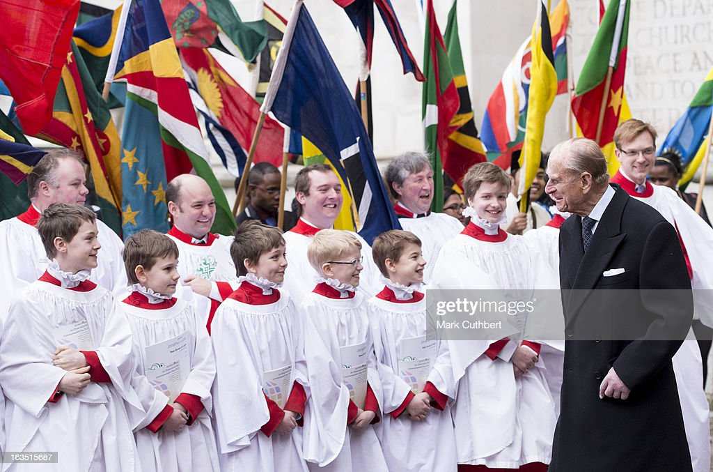<a gi-track='captionPersonalityLinkClicked' href=/galleries/search?phrase=Prince+Philip&family=editorial&specificpeople=92394 ng-click='$event.stopPropagation()'>Prince Philip</a>, Duke of Edinburgh talks to representatives from the Commonwealth countries and the choir as he leaves The Commonwealth Day Observance at Westminster Abbey on March 11, 2013 in London, England.
