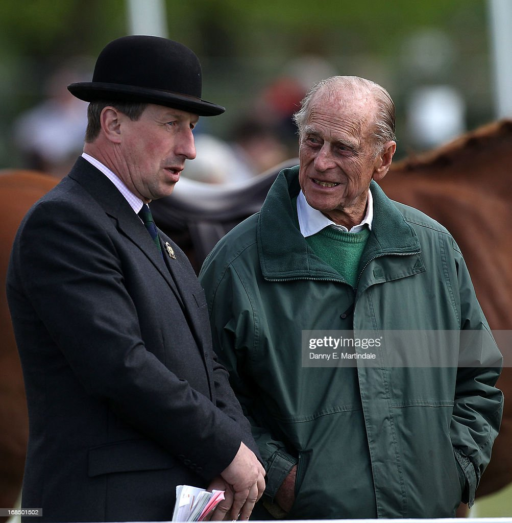 Prince Philip, Duke of Edinburgh talks to the show chairman Stuart Cowen on day 3 of the Royal Windsor Horse Show on May 10, 2013 in Windsor, England.