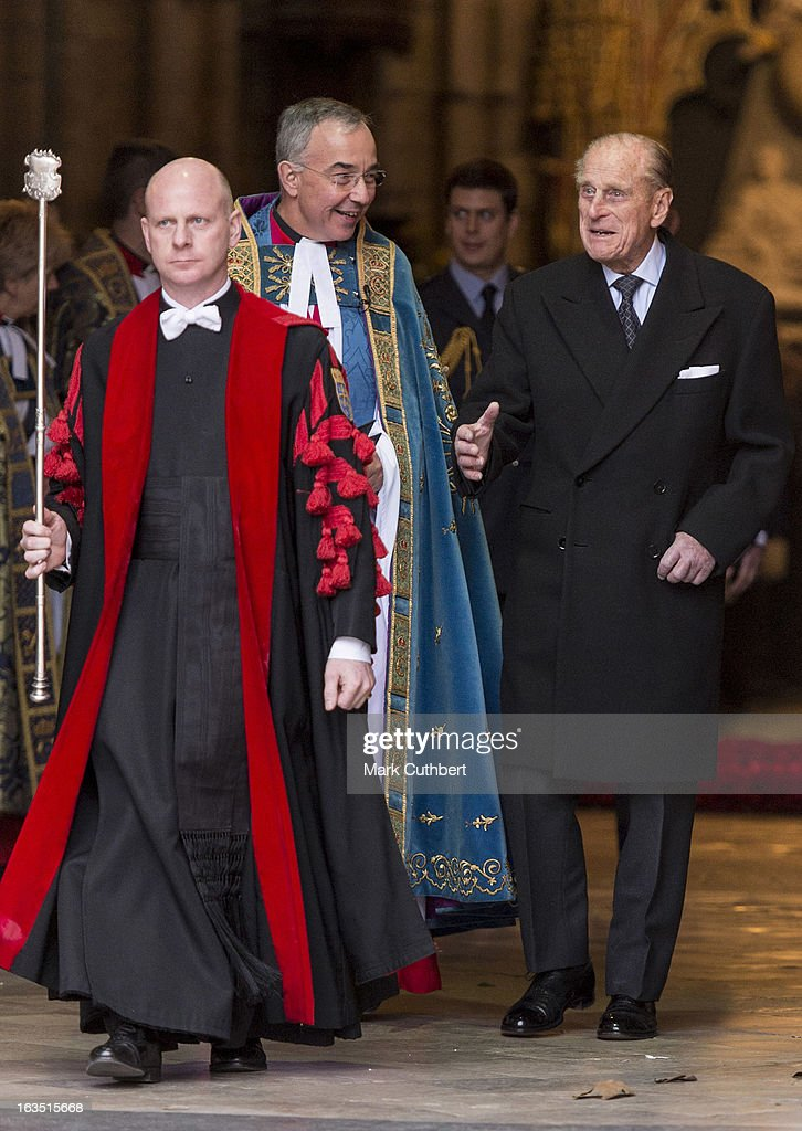 Prince Philip, Duke of Edinburgh talks to The Very Reverend Dr John Hall (Dean of Westminster) he leaves The Commonwealth Day Observance at Westminster Abbey on March 11, 2013 in London, England.
