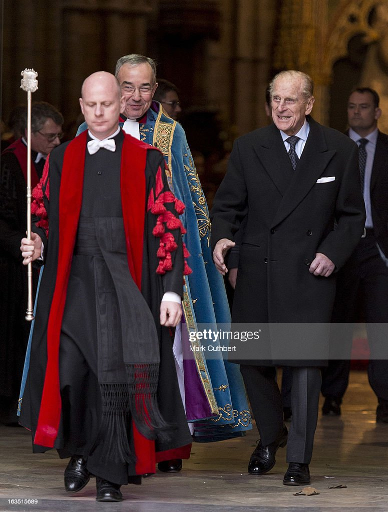 <a gi-track='captionPersonalityLinkClicked' href=/galleries/search?phrase=Prince+Philip&family=editorial&specificpeople=92394 ng-click='$event.stopPropagation()'>Prince Philip</a>, Duke of Edinburgh talks to The Very Reverend Dr John Hall (Dean of Westminster) he leaves The Commonwealth Day Observance at Westminster Abbey on March 11, 2013 in London, England.