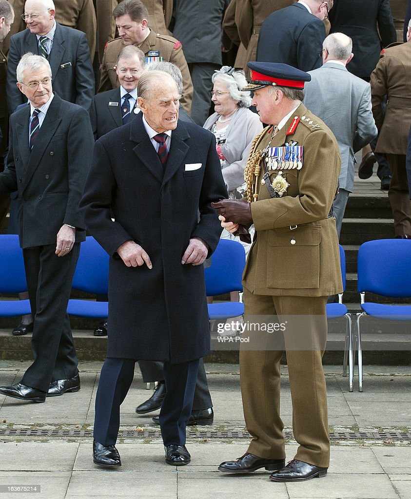 Prince Philip, Duke of Edinburgh, talks with General Lord Dannatt as he attends a service for the 175th anniversary of the Soldier's and Airmen's Scripture Association, at the Guards Chapel on March 14, 2013 in London, England.