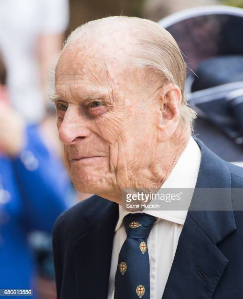 Prince Philip Duke of Edinburgh visits Pangbourne College to celebrate it's centenary at Pangbourne College on May 9 2017 in Pangbourne England
