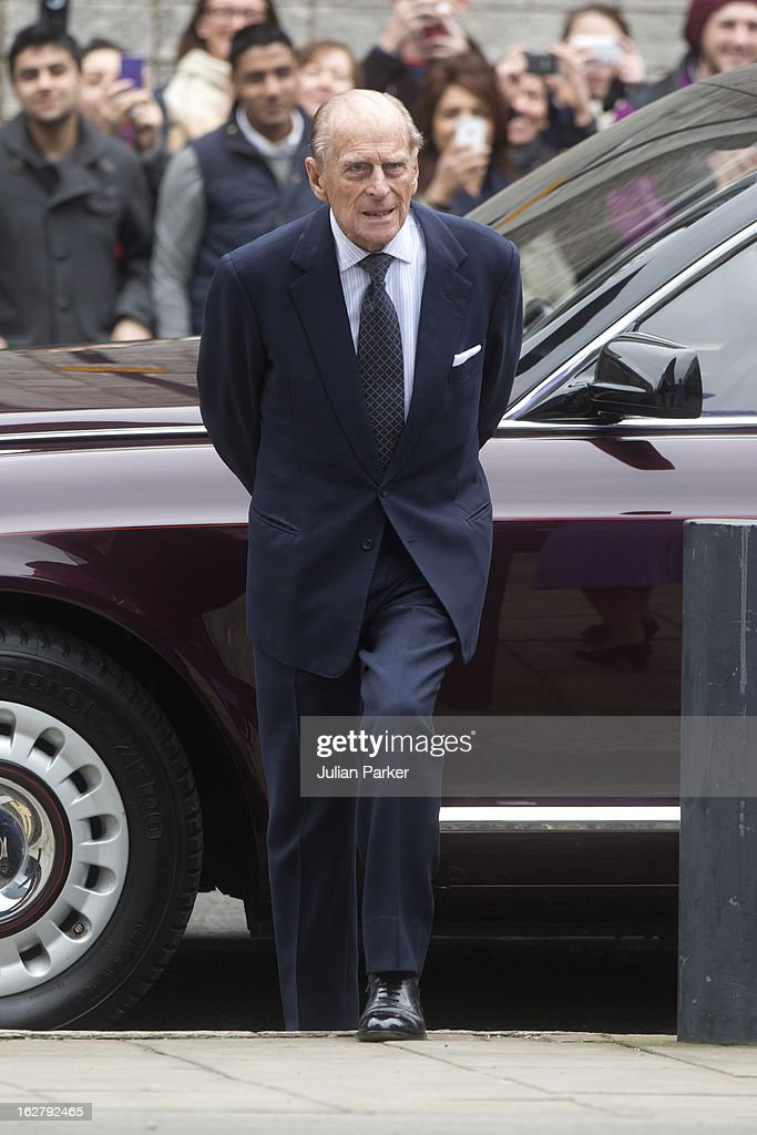 Prince Philip, Duke of Edinburgh visits the National centre for Bowel Cancer research, and surgical Innovation, after Queen Elizabeth II opened the new Royal London Hospital building, on February 27, 2013 in London, England.