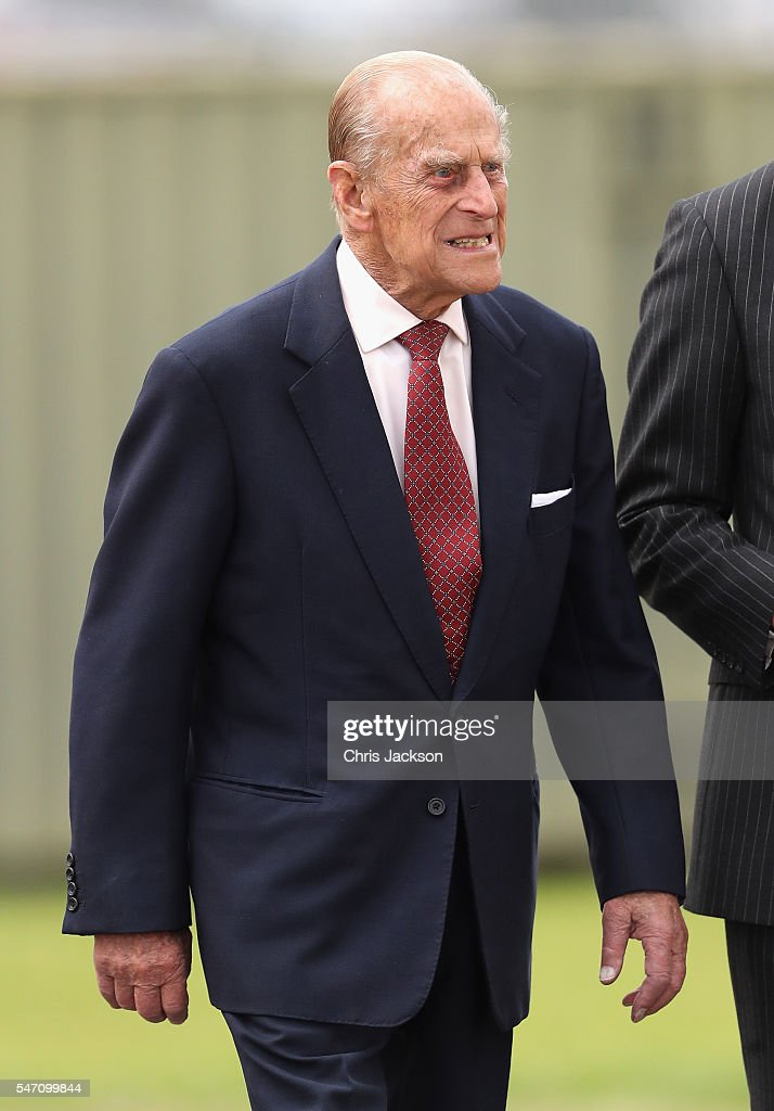 Prince Philip, Duke of Edinburgh visits the new East Anglian Air Ambulance Base at Cambridge Airport on July 13, 2016 in Cambridge, England.