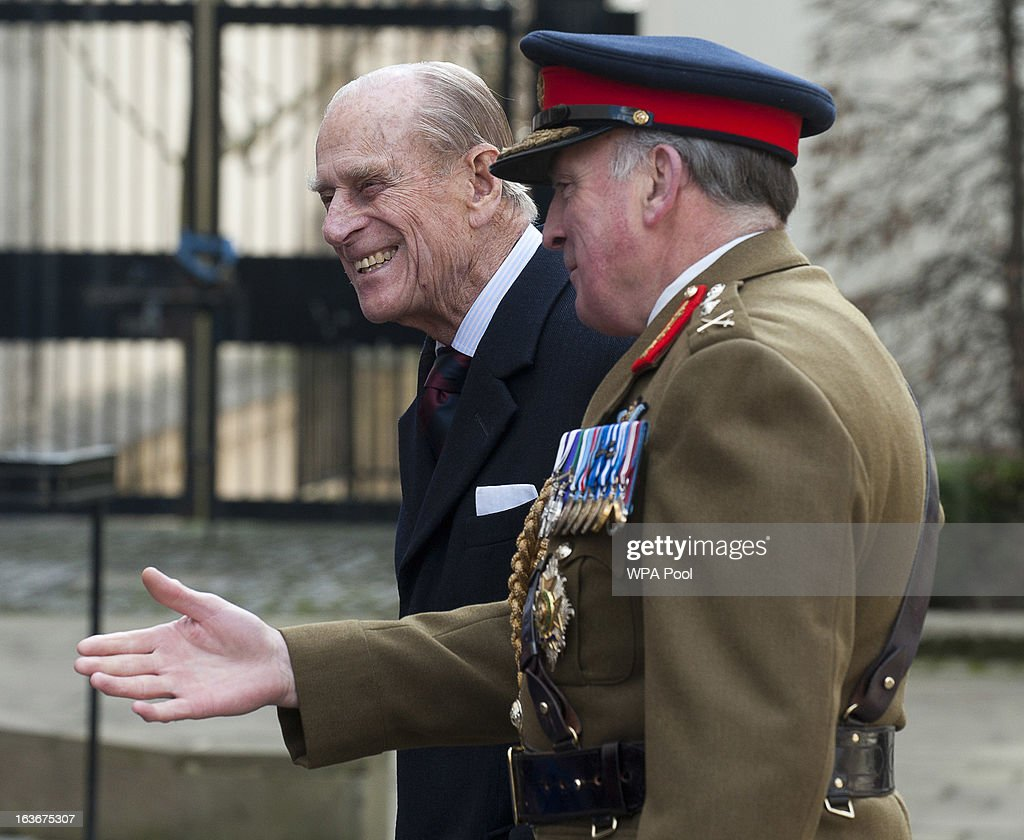 Prince Philip, Duke of Edinburgh, waks with General Lord Dannatt as he attends a service for the 175th anniversary of the Soldier's and Airmen's Scripture Association, at the Guards Chapel on March 14, 2013 in London, England.
